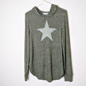 Grayson Threads green star hoodie top size medium